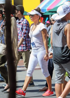 Eva Longoria in Tights at Universal Studio in LA