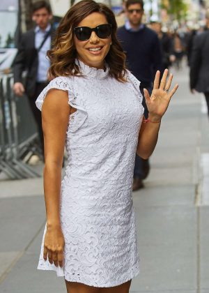 Eva Longoria in white dress out in NYC