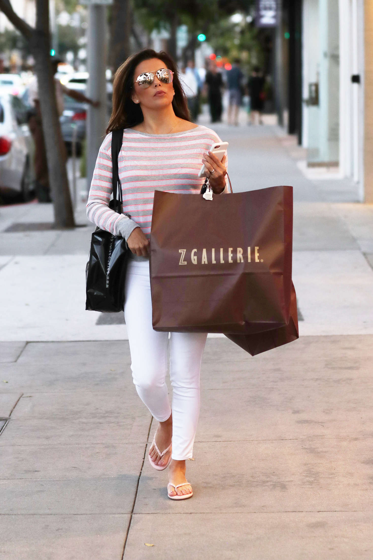 Eva Longoria in White Jeans out in Beverly Hills