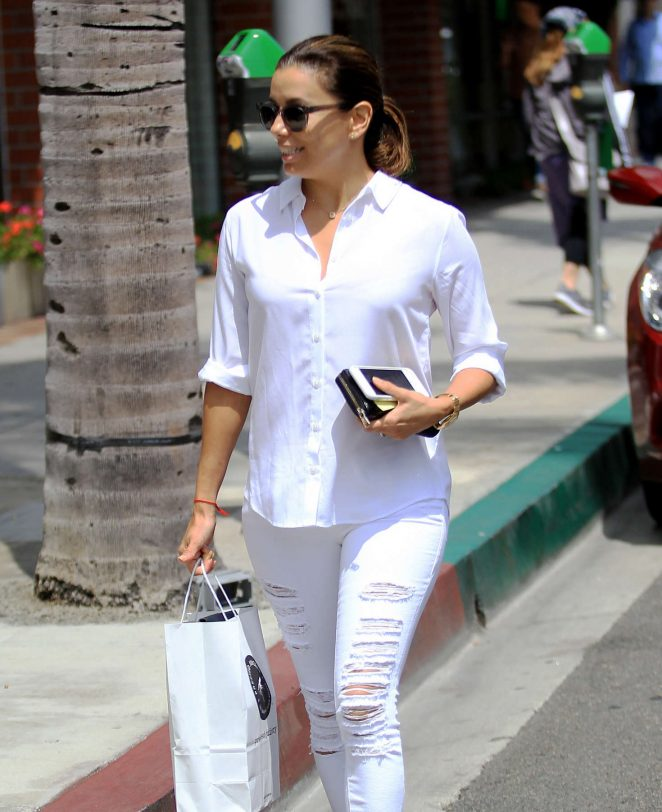 Eva Longoria in White out in Beverly Hills