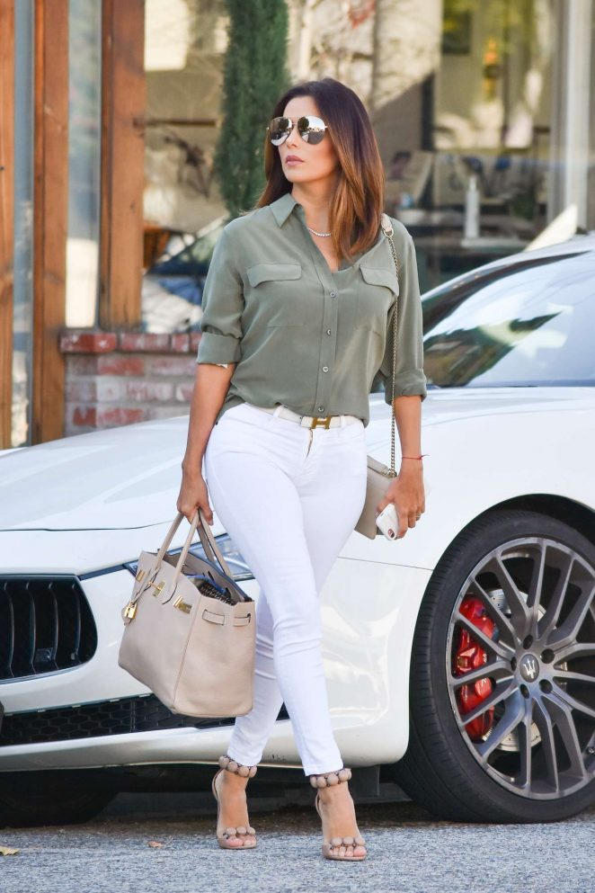 Eva Longoria in White Pants out and about in Los Angeles