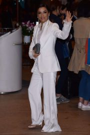 Eva Longoria in White Suit - Goes to hotel Martinez in Cannes