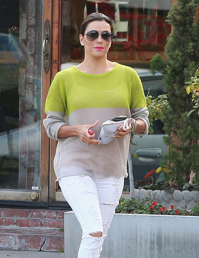 Eva Longoria in White Jeans Leaving the Ken Paves Salon in West Hollywood