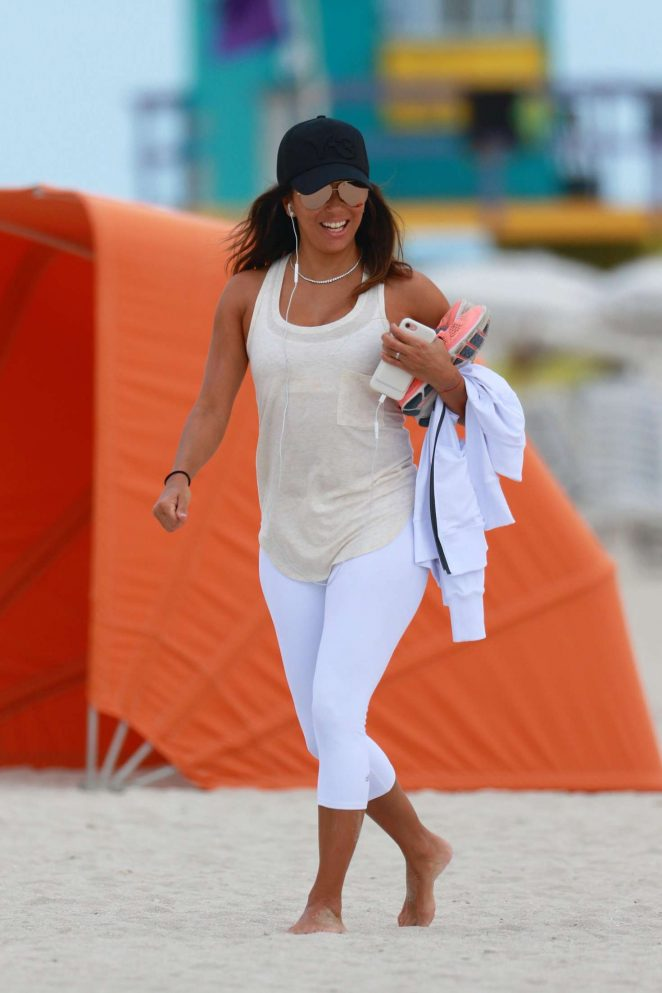 Eva Longoria on the beach in Miami