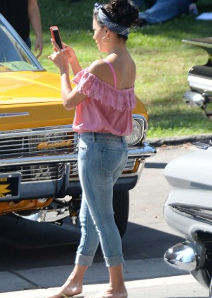 Eva Longoria in Tigth Jeans on 'Lowriders' set in LA
