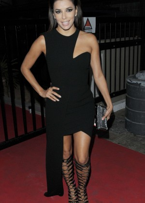 Eva Longoria in Black Mini Dress out in Cannes