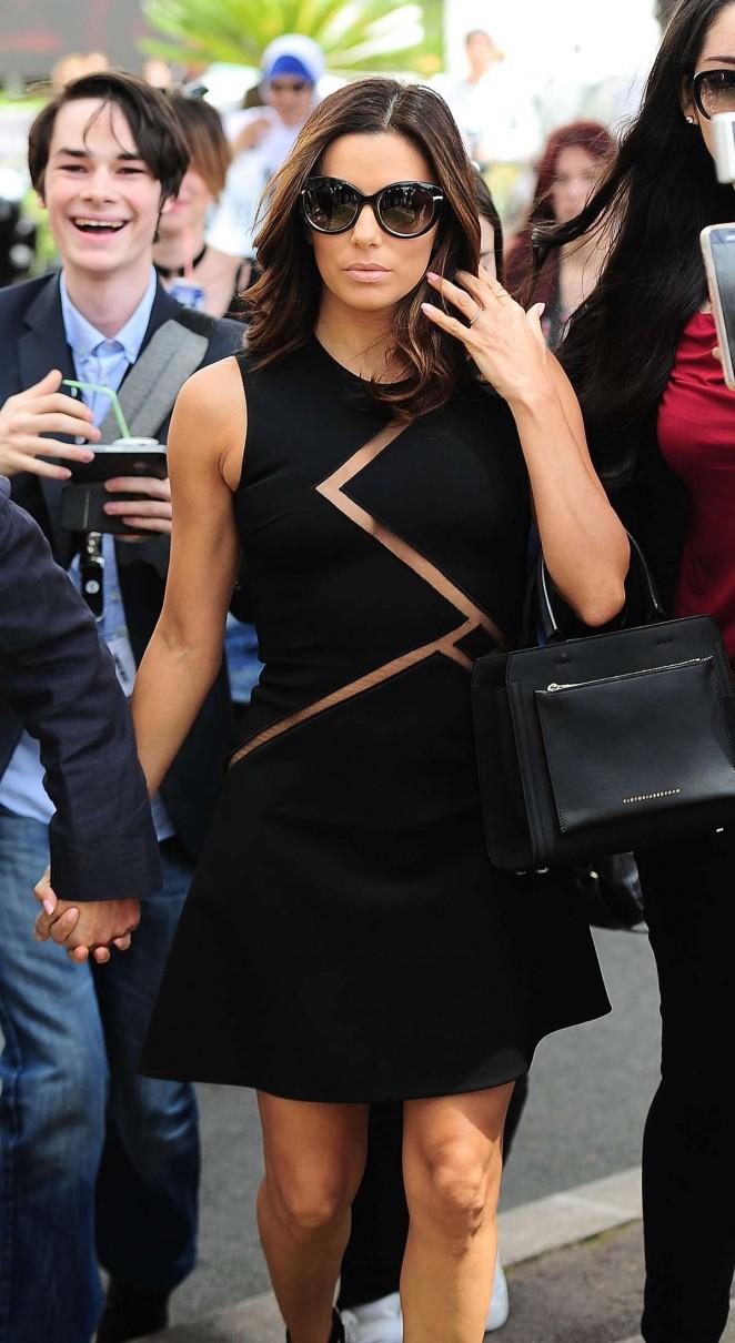 Eva Longoria in Mini Dress Out in Cannes