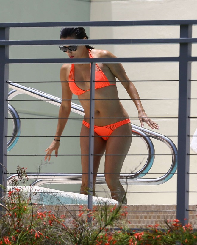 Eva Longoria in Orange Bikini -01
