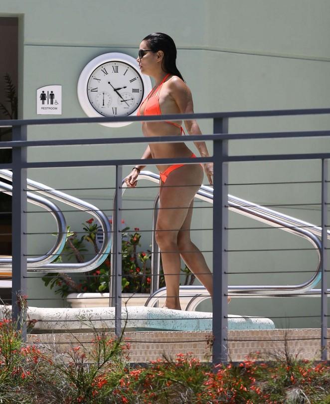 Eva Longoria in Orange Bikini -05
