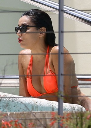 Eva Longoria in Orange Bikini in Miami