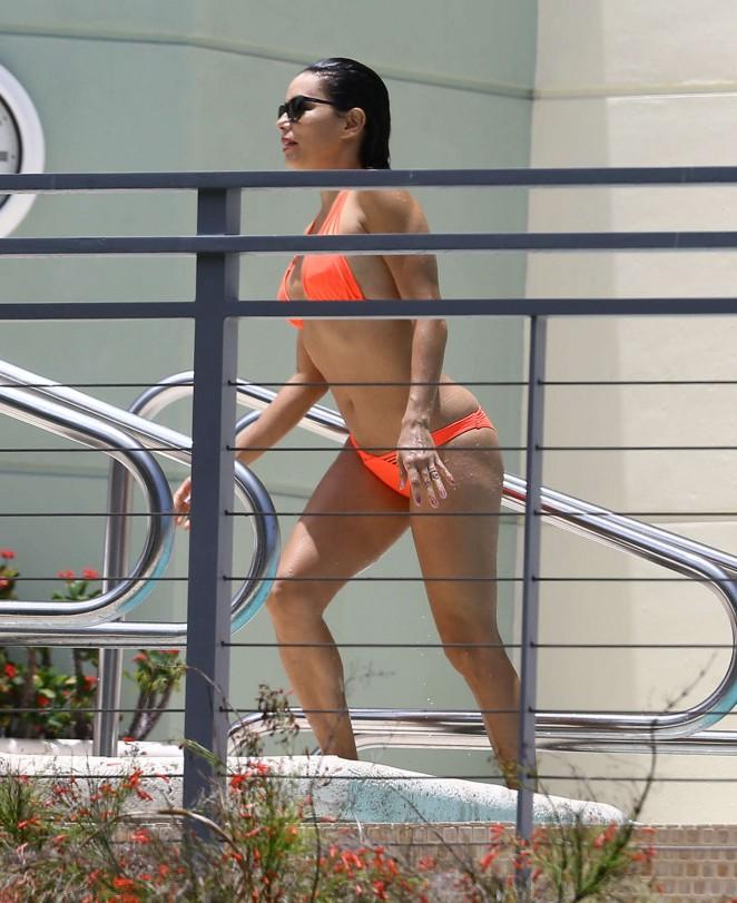 Eva Longoria in Orange Bikini -08