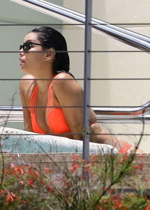 Eva Longoria in Orange Bikini -14