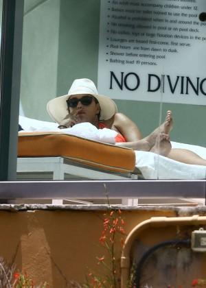 Eva Longoria in Orange Bikini -23