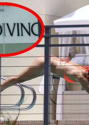 Eva Longoria in Orange Bikini -31
