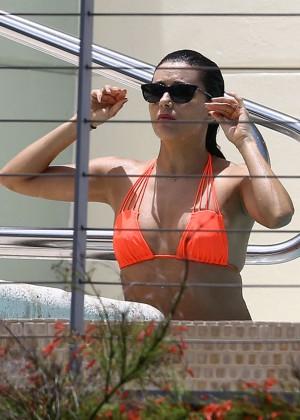 Eva Longoria in Orange Bikini -32