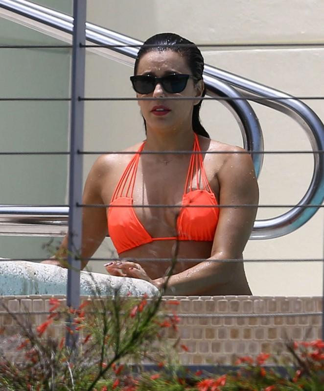 Eva Longoria in Orange Bikini -33