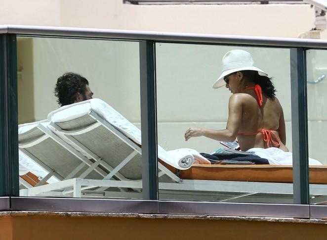 Eva Longoria in Orange Bikini -34