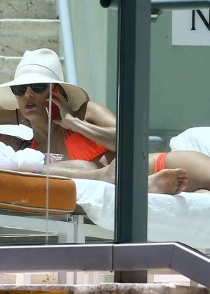 Eva Longoria in Orange Bikini -36