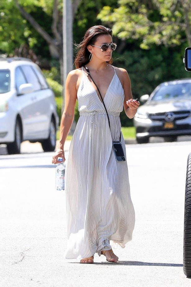 Eva Longoria - Wearing white summer dress while house hunting in Beverly Hills