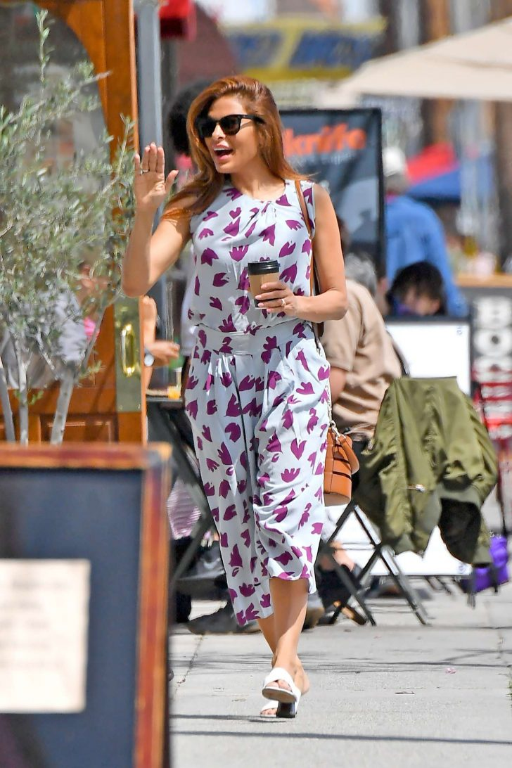 Eva Mendes in a Printed Jumpsuit - Shopping in Los Angeles
