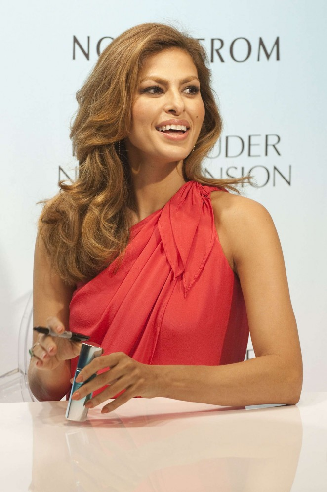 Eva Mendes - Promoting the new Estee Lauder Serum in Aventura