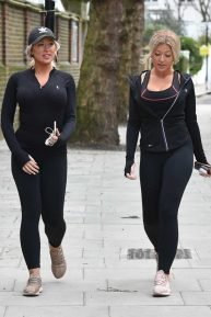 Eve Gale and Jess Gale in Tights - Walking to there local shops in London