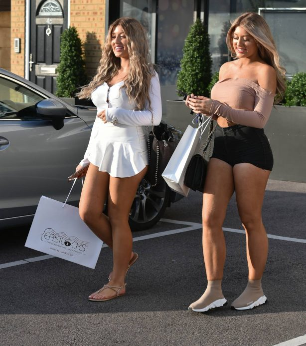 Eve Gale and Jess Gale - Leaving Easilocks hair salon in Brentwood