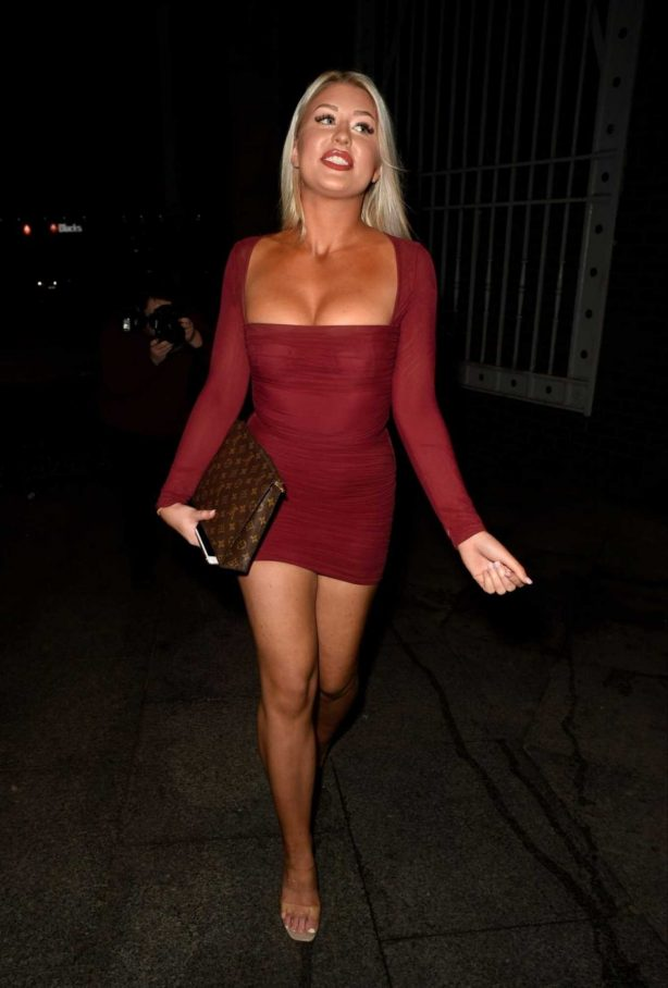 Eve Gale in Red Mini Dress - Heading to China Whites in Manchester