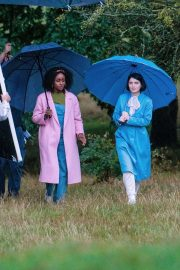 Eve Hewson and actress Simona Brown - On set of a new Netflix show 'Behind Her Eyes' in London