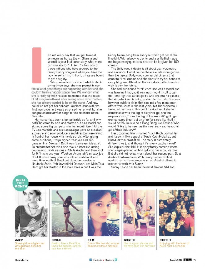 Evelyn Sharma: FHM India 2015 -06