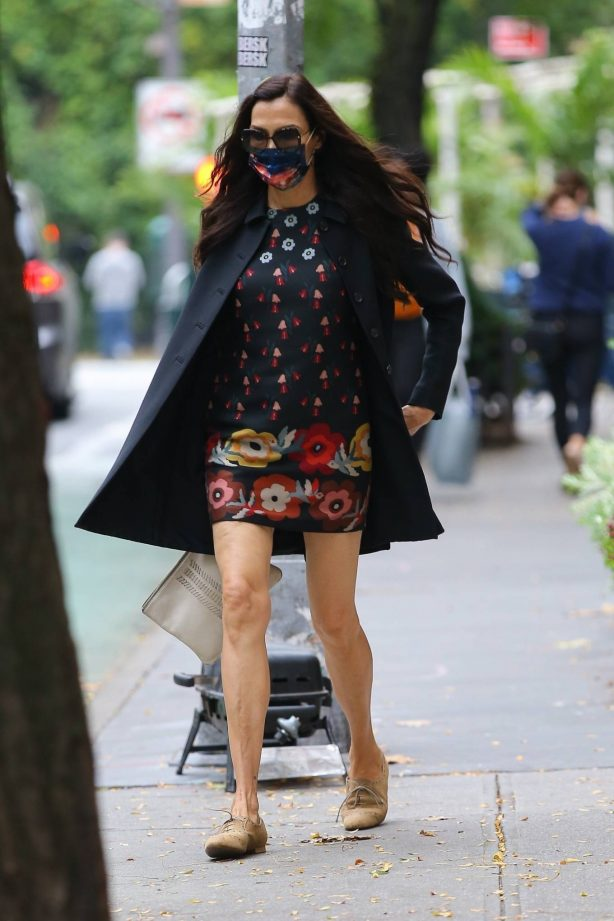 Famke Janssen - In a floral mini dress out in New York
