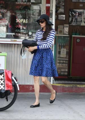 Famke Janssen In Blue Skirt Out In Soho