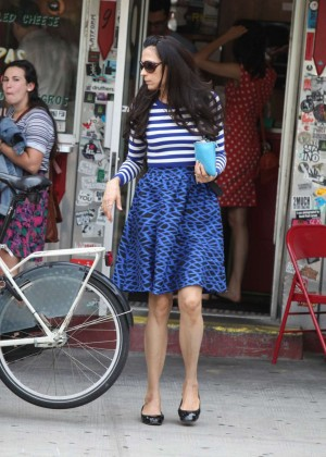 Famke Janssen in Blue Skirt Out in Soho