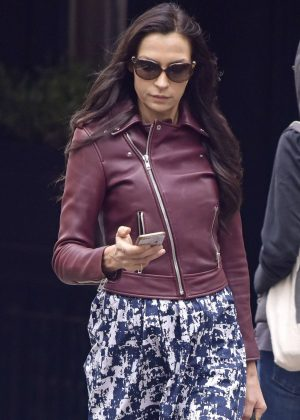 Famke Janssen in Leather Jacket out in New York City