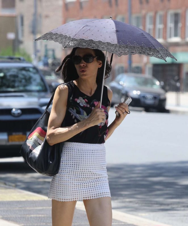 Famke Janssen in Mini Skirt out in New York City