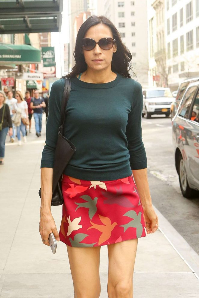 Famke Janssen in Mini Skirt Out in New York
