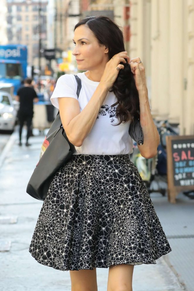 Famke Janssen in Mini Skirt - Out in SoHo