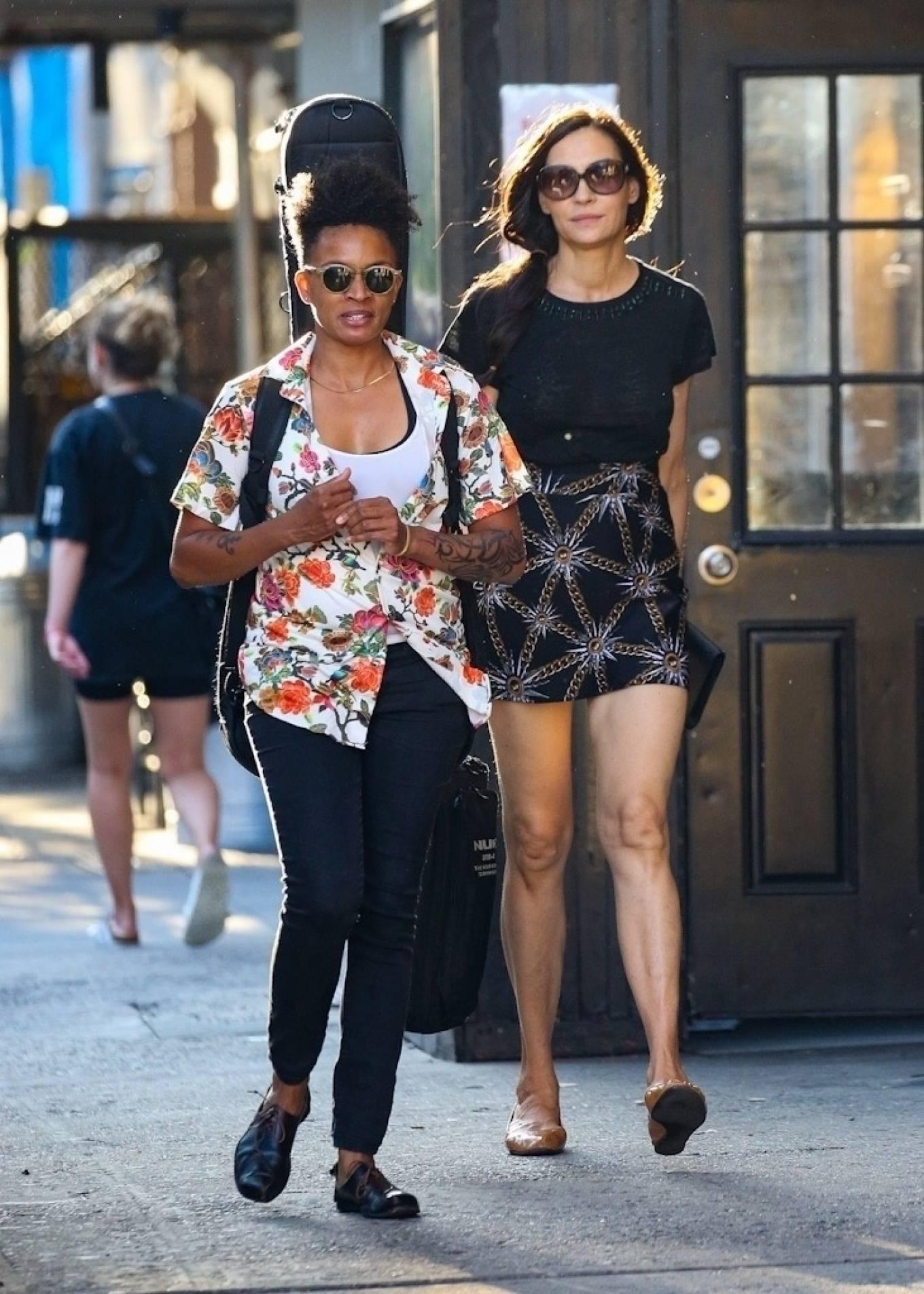 Famke Janssen - In mini skirt steps out in New York