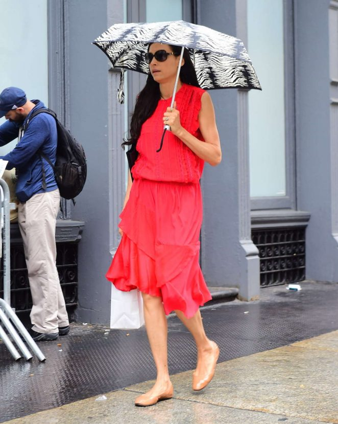 Famke Janssen in Red Dress out in New York City