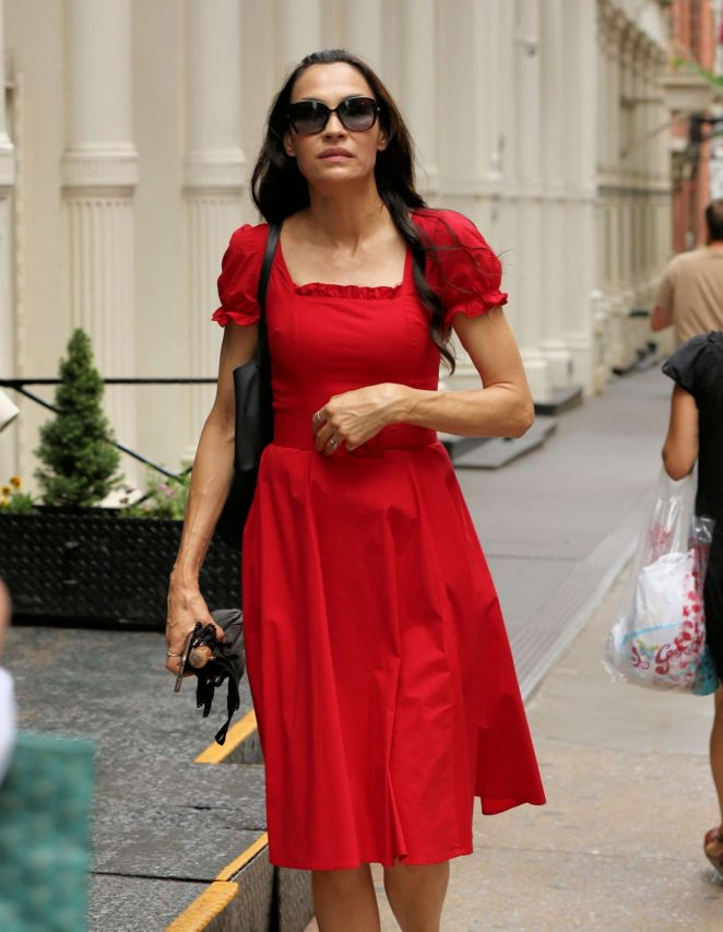 Famke Janssen in Red Dress - Out in Soho