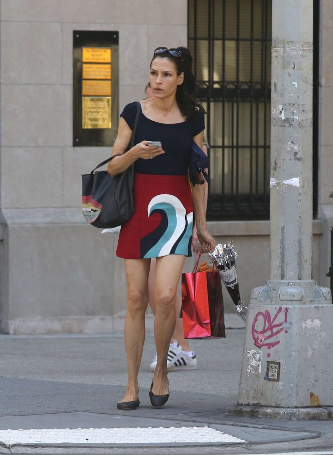 Famke Janssen leaving the gym in Soho