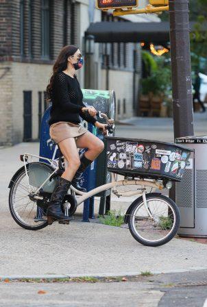 Famke Janssen - On a bike ride in New York