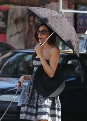 Famke Janssen in Mini Dress Out in NYC
