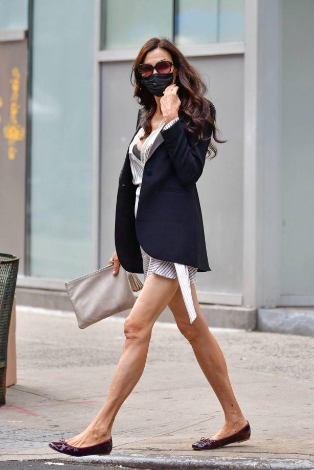 Famke Janssen - Out in white mini dress in New York
