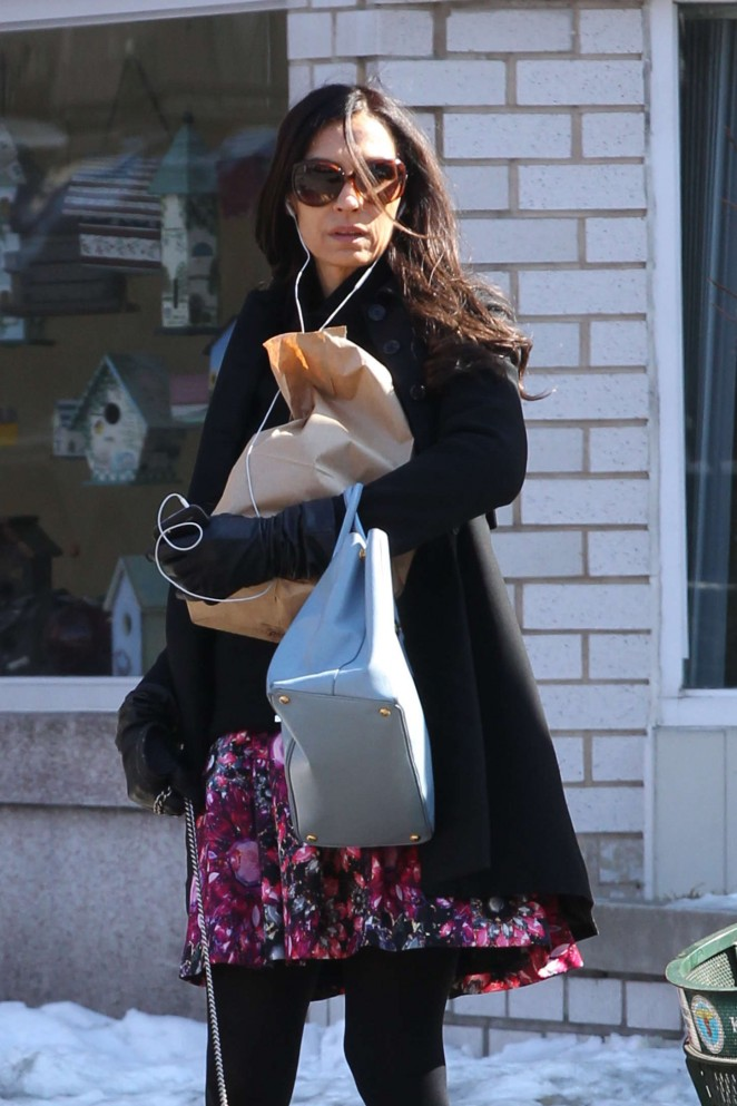Famke Janssen in Short Dress Walking her dog in NYC