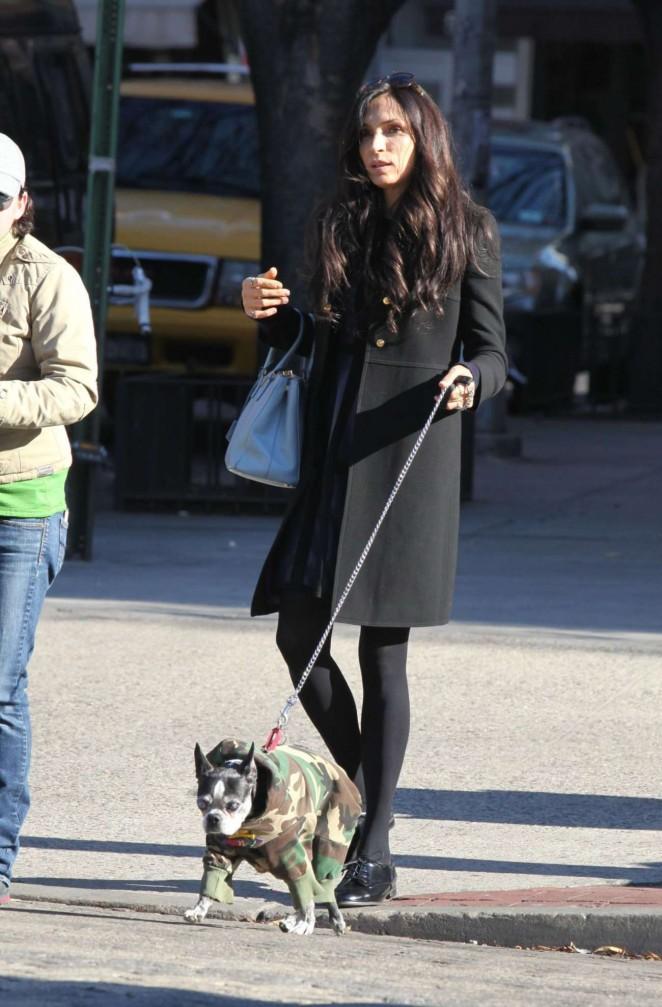 Famke Janssen walking her dog in NYC