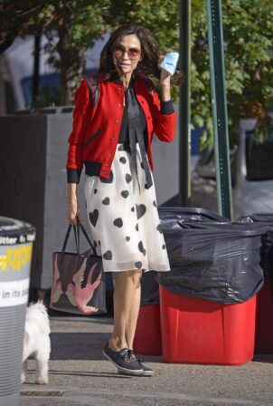 Famke Janssen - Wears a red bomber jacket while out in the West Village in New York