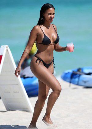 Fanny Neguesha in Black Bikini 2016 -02