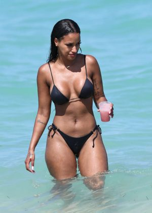 Fanny Neguesha in Black Bikini out in Miami