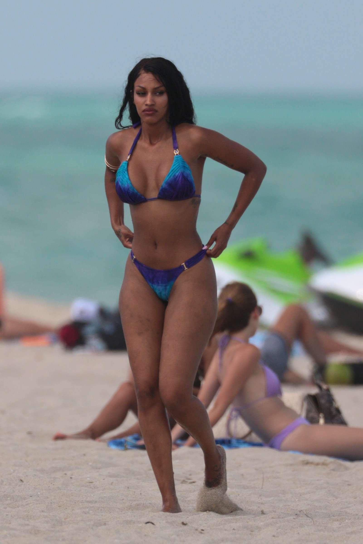 Fanny Neguesha in Blue Bikini at the beach in Miami ...